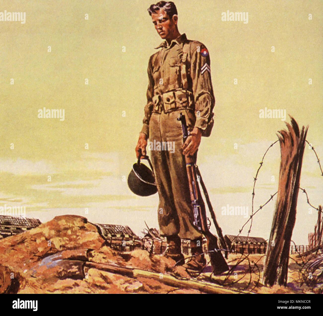El soldado en la tumba de un camarada Imagen De Stock