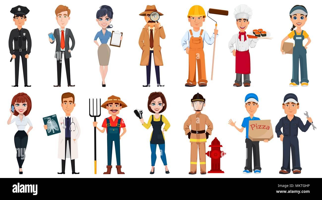 Personas De Diferentes Profesiones Conjunto De Personajes