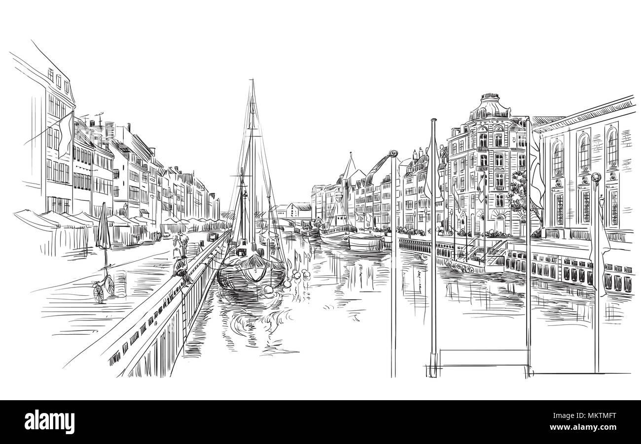Muelle en Copenhagen, Dinamarca. Hito de Dinamarca. Dibujo a mano ilustración vectorial en color negro aislado sobre fondo blanco. Ilustración del Vector
