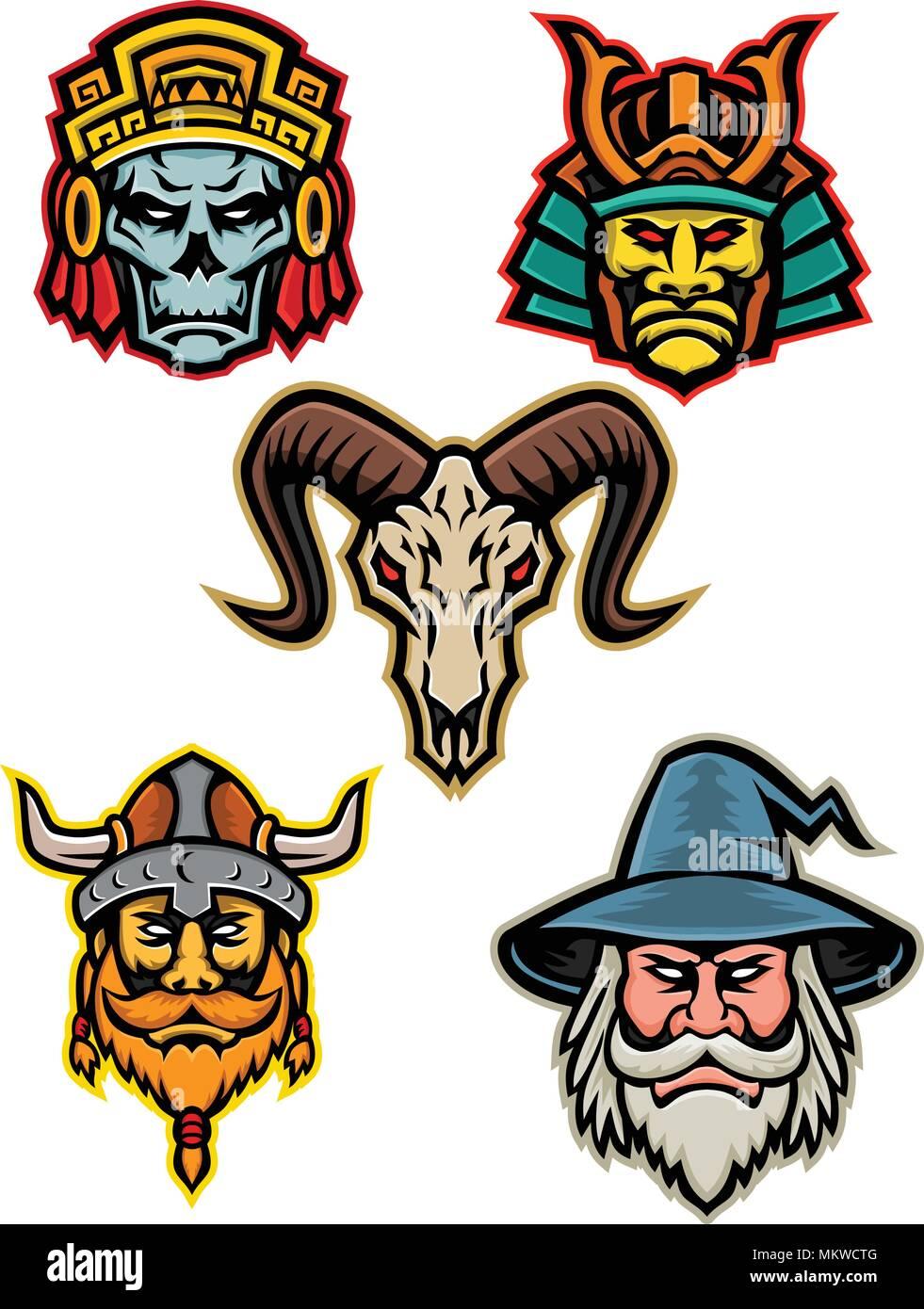 Icono De Mascota Ilustración Conjunto De Jefes De Un Guerrero Azteca
