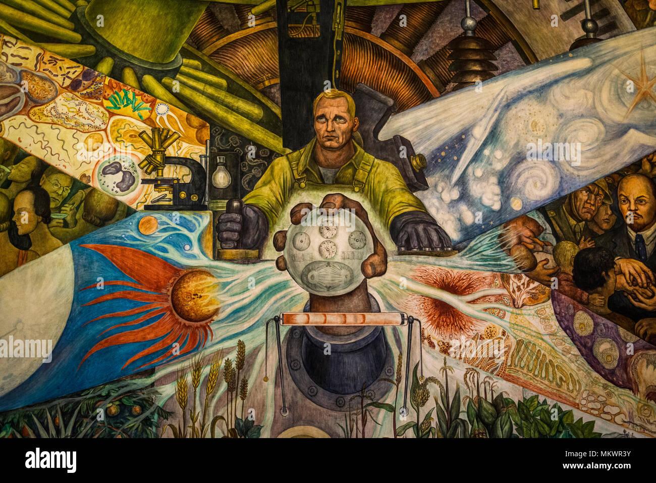 Mural De Diego Rivera El Hombre En La Encrucijada O Man