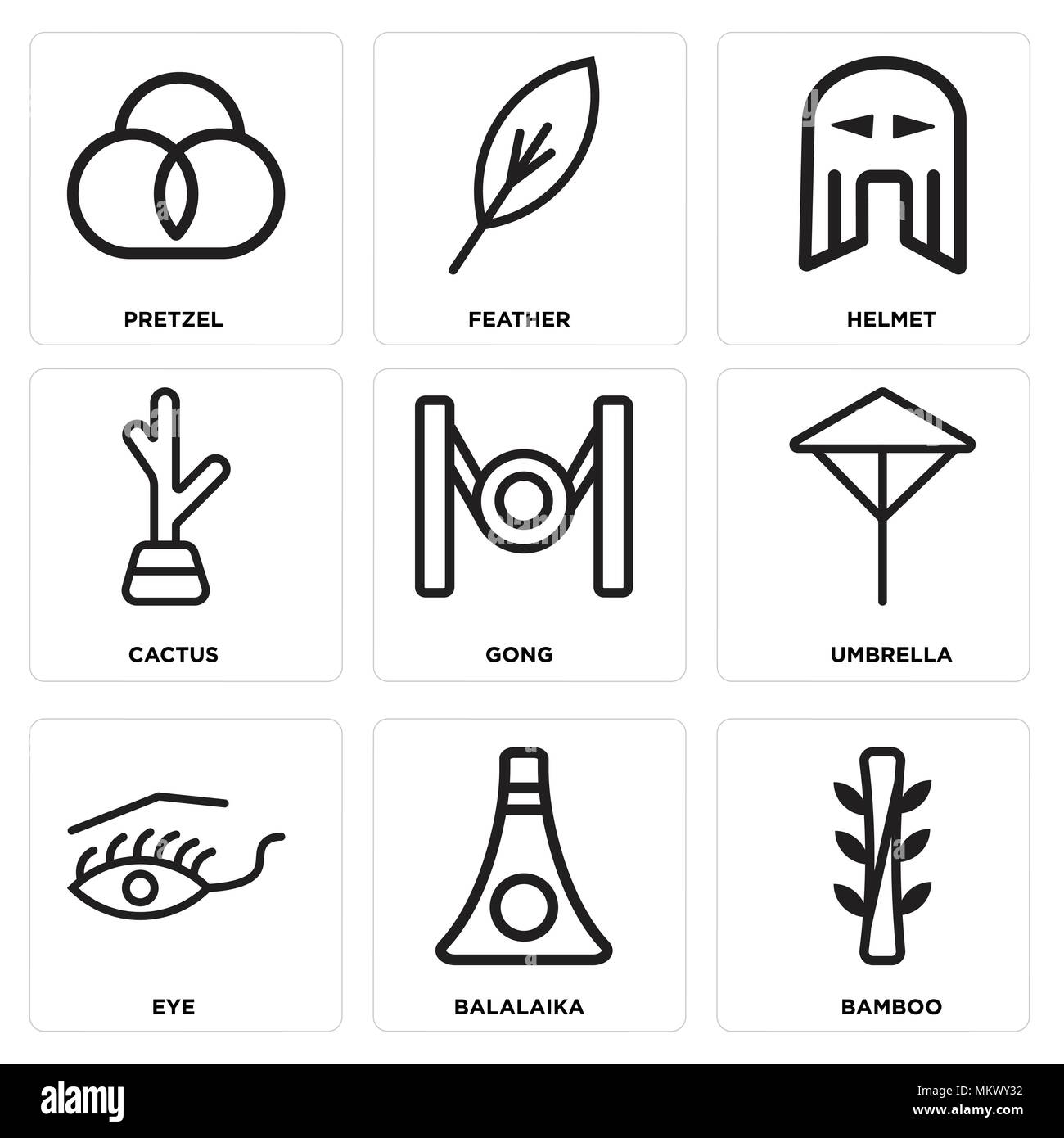 Conjunto de 9 sencillos iconos editables como bambú 2a6e947ace0