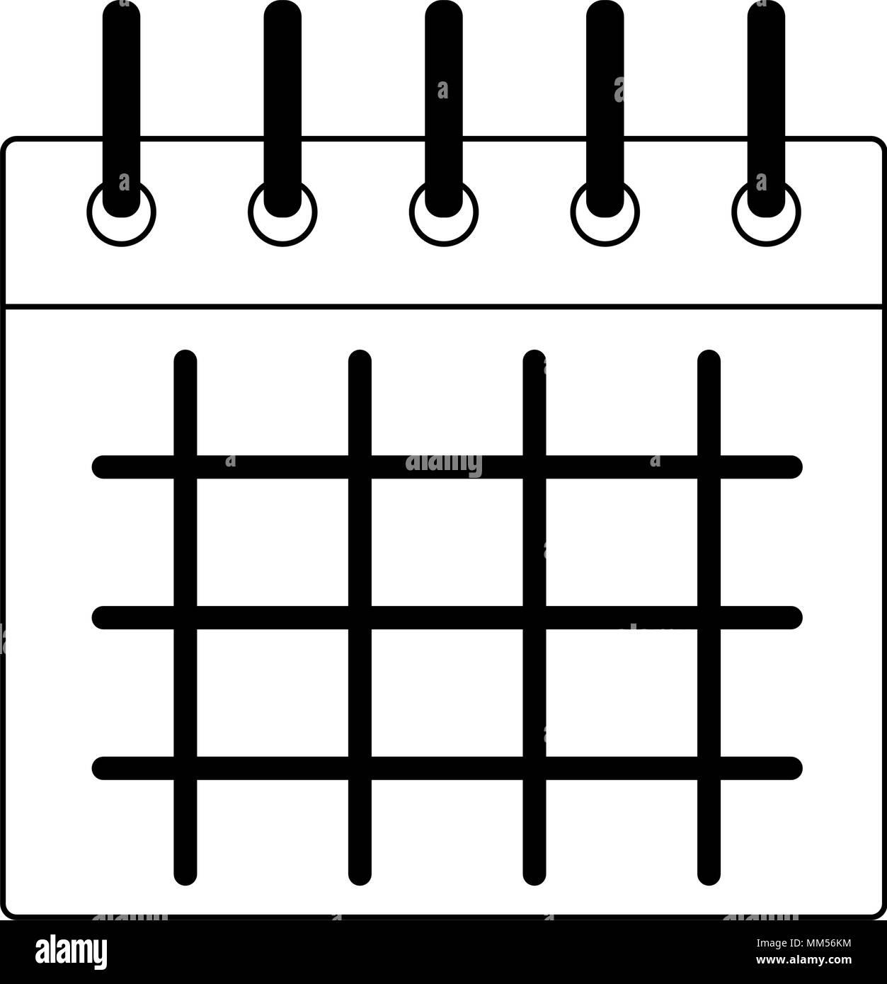 Calendario En Blanco.Calendario Y Horario El Simbolo En Blanco Y Negro Ilustracion Del