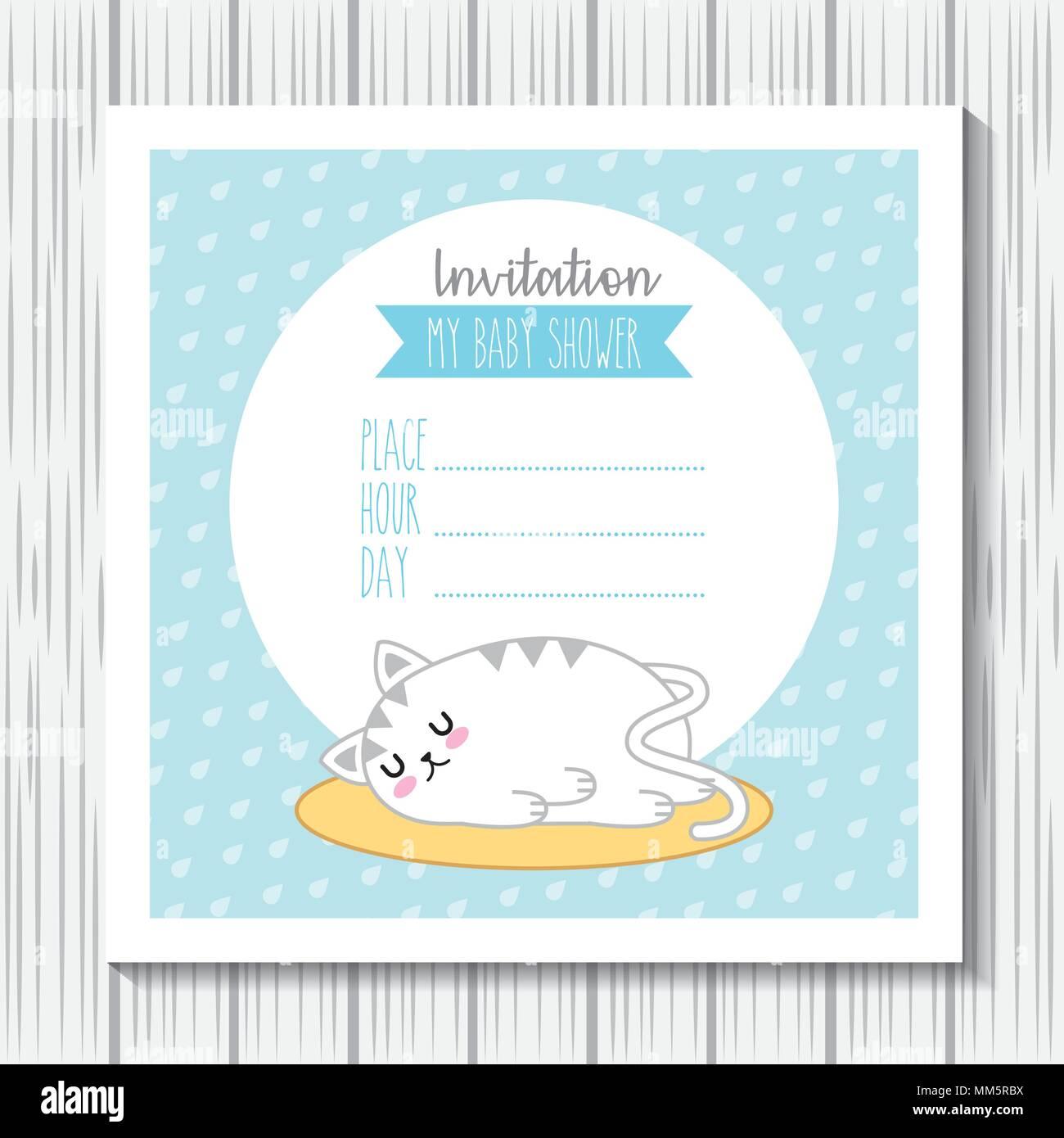 Invitación Baby Shower Conejo Kawaii Sueño Tarjeta
