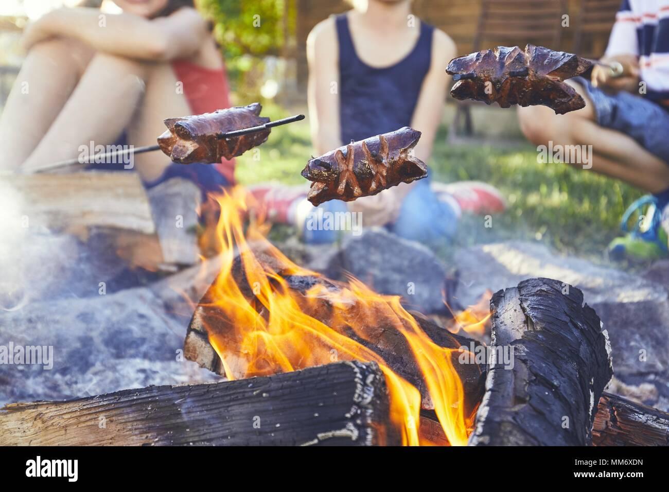 Los niños disfrutan de CAMPFIRE. Las niñas (familia) tostado de salchichas en el jardín. Imagen De Stock