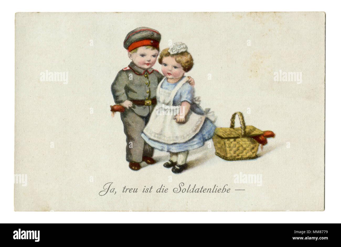 """Postal: militar alemana antigua serie humorística de niños como adultos """"Sí, fiel a la vida del soldado."""" La I Guerra Mundial, 1914-1918, Alemania Foto de stock"""