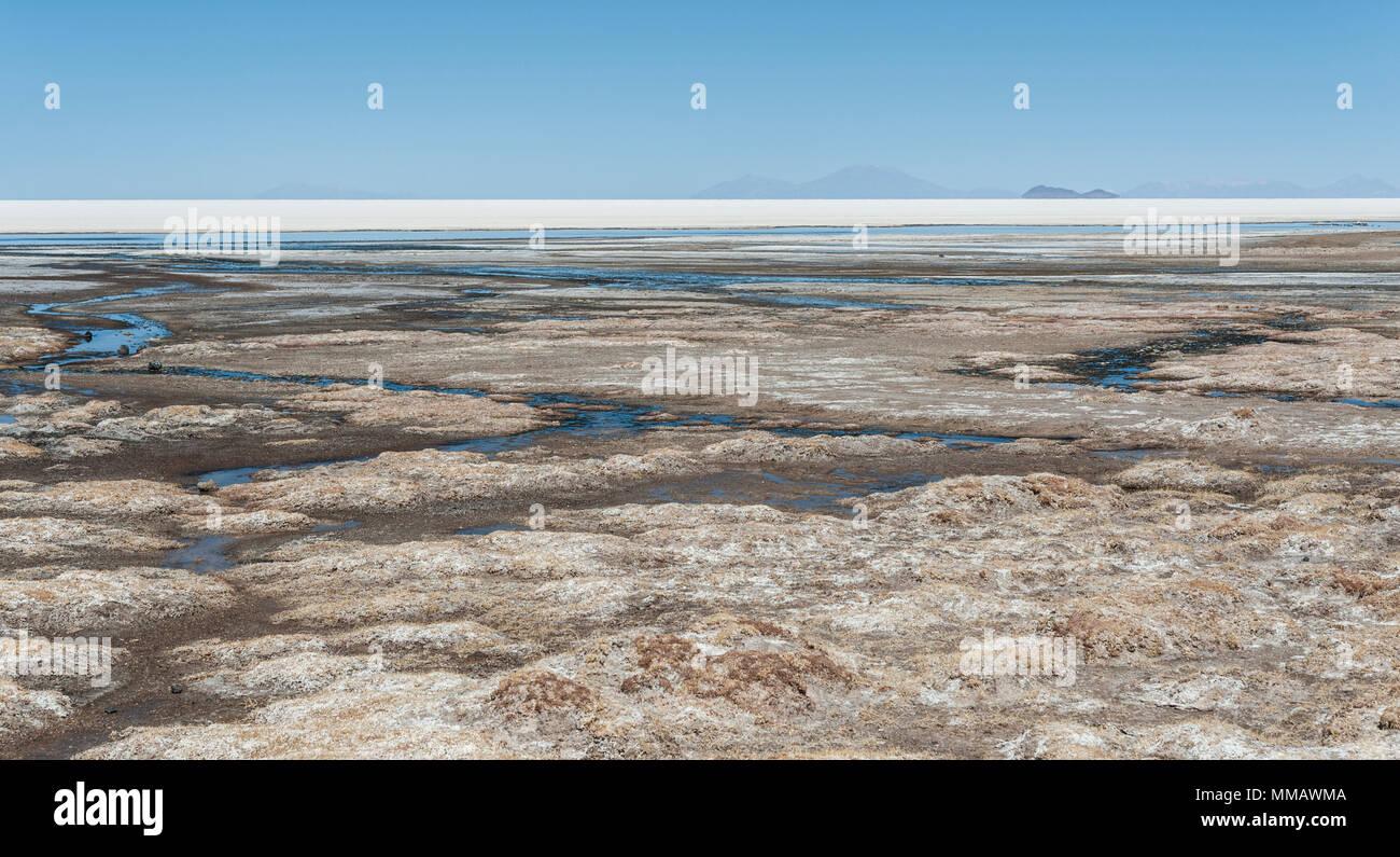 Vista del Salar de Uyuni de Coquesa - Tahua aldea Bolivia Imagen De Stock