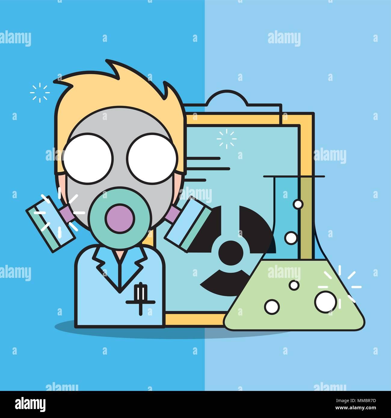 La investigación de laboratorio de ciencias Ilustración del Vector