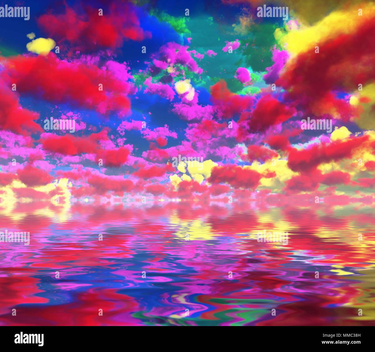 Arte digital surrealista las nubes de colores reflejados en el agua. Foto de stock