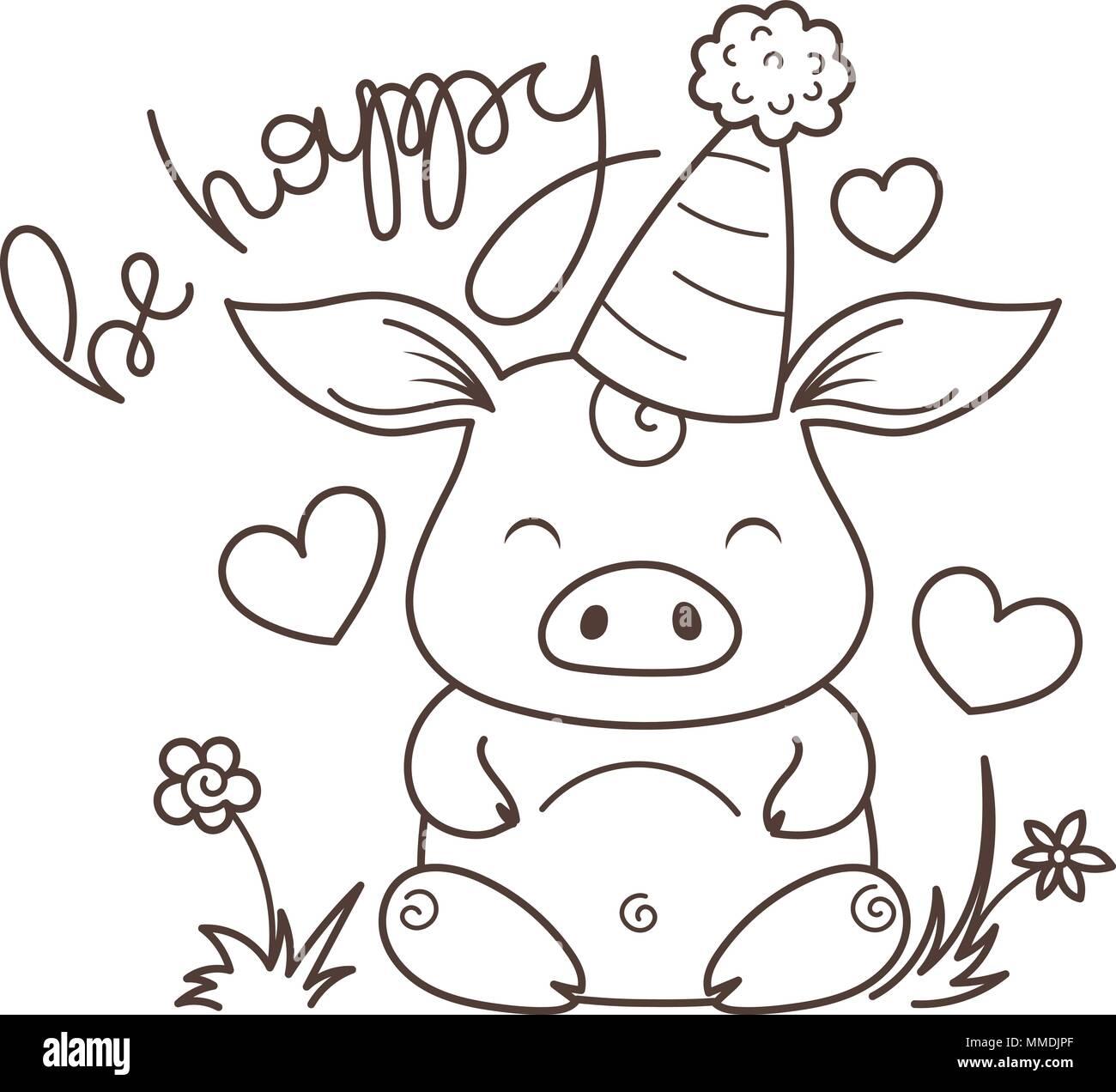 Ser Feliz Cute Dibujos Animados De Cerdo En El Amor Símbolo Del