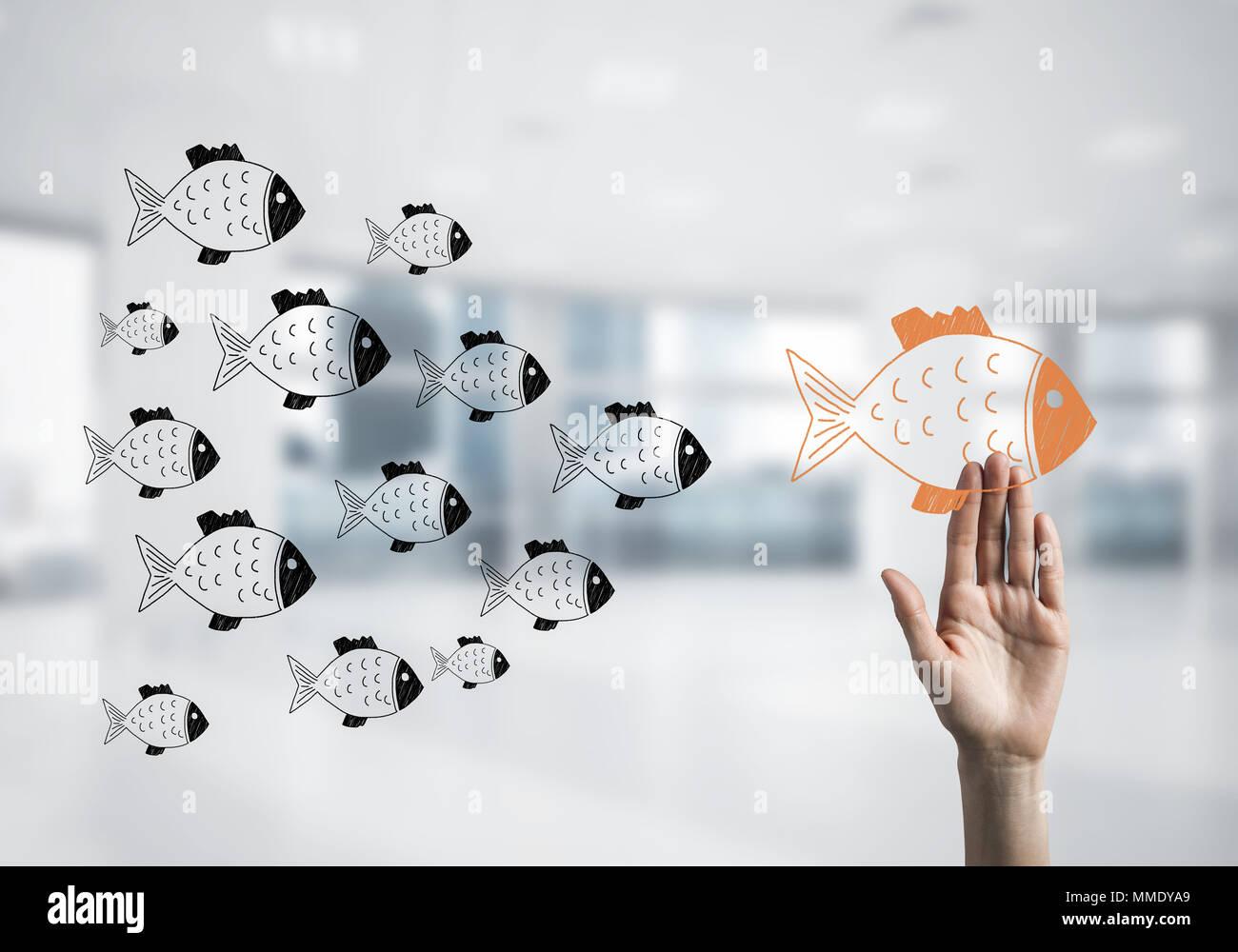 Concepto de liderazgo y teamworking con muchos iconos y uno de Imagen De Stock
