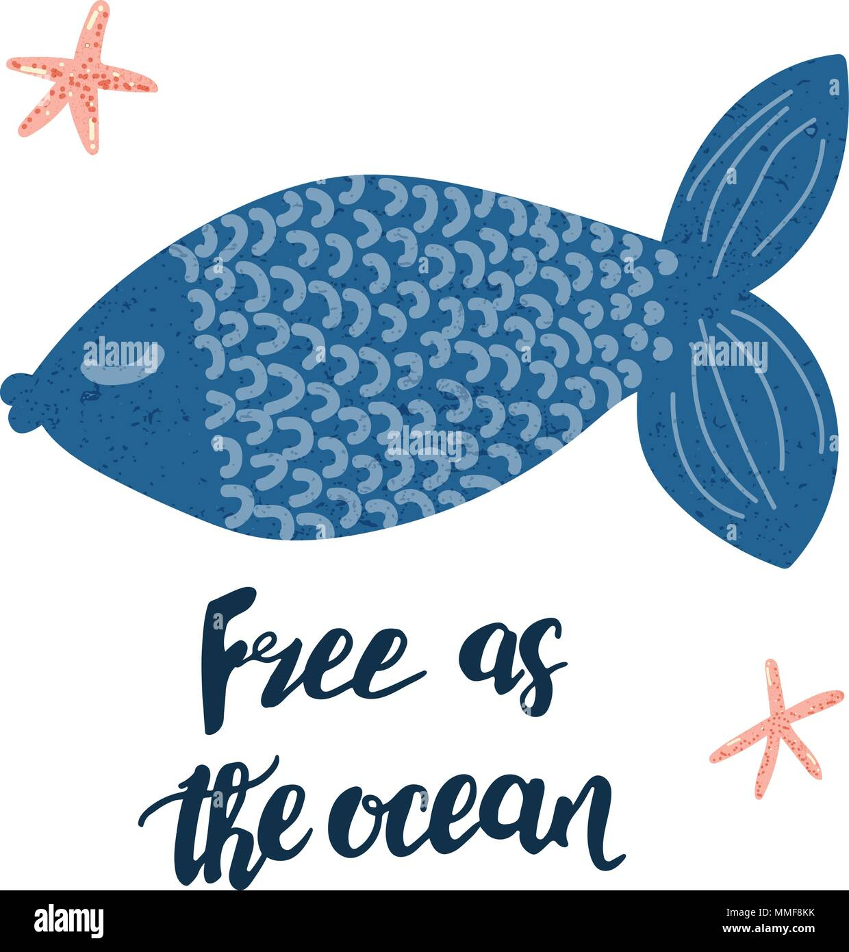Cartoon Vectores Lindo Pescado Azul Y Letras Escritas A Mano