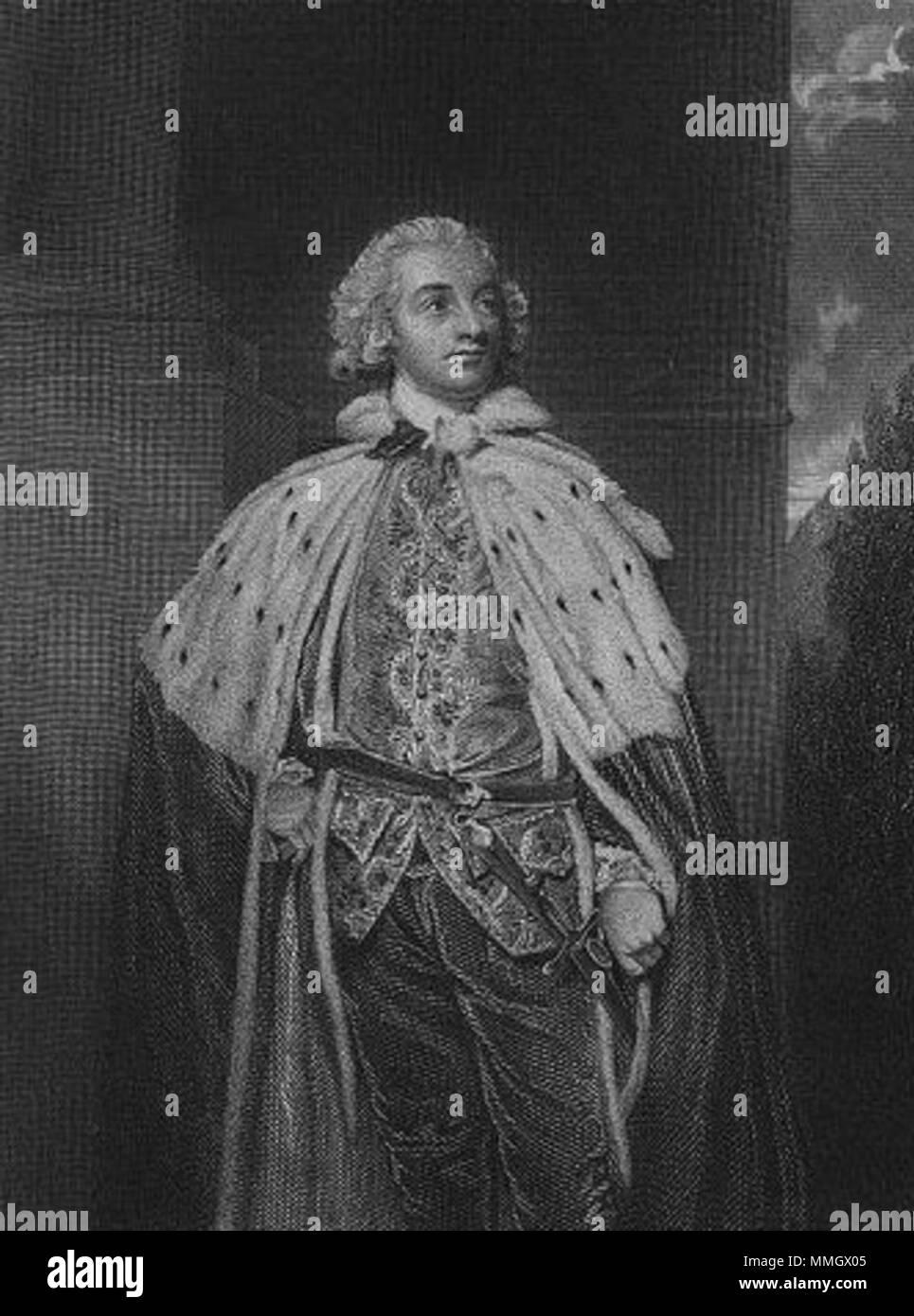 Inglés: Retrato de John Fane, 10º Conde de Westmorlan (1759-1841) . circa 1790. 10thEarlOfWestmorland Foto de stock