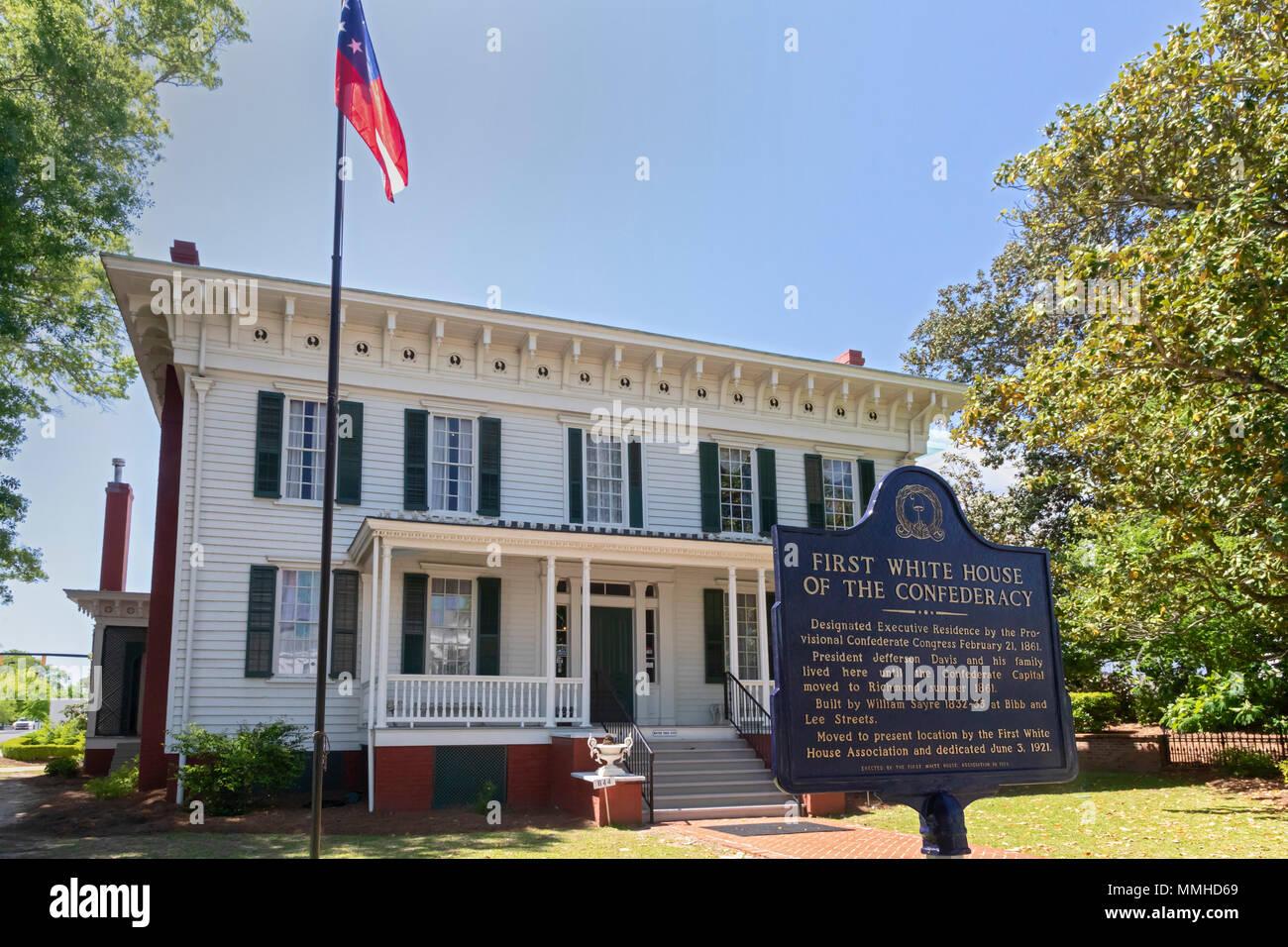 Montgomery, Alabama - La primera casa blanca de la Confederación. Jefferson Davis, presidente de los Estados Confederados, vivió aquí hasta que el ejército confederado Foto de stock