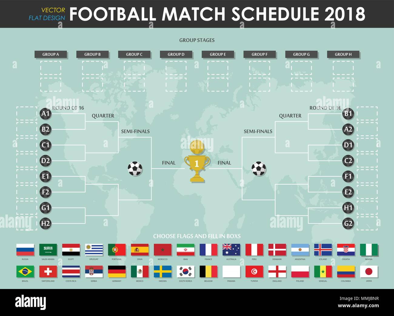 Calendario Mundial Futbol.Futbol O Soccer Cup Calendario Y Grafico De Pared Vector De