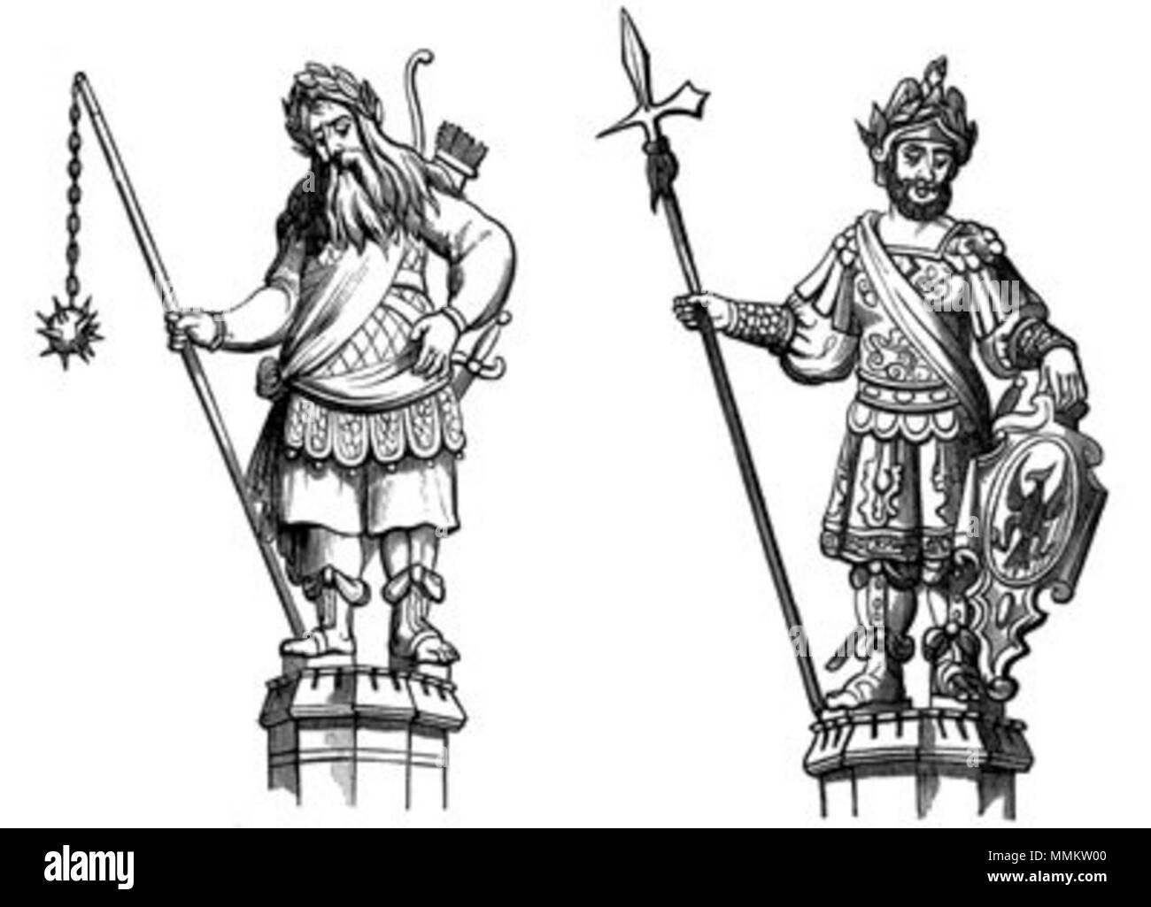 . Inglés: Gog y Magog. Los gigantes en el Guildhall de Londres . 27 de enero de 2012, 14:18:35. Frederick William Fairholt (1814 - 3 de abril de 1866) Gog y Magog Imagen De Stock