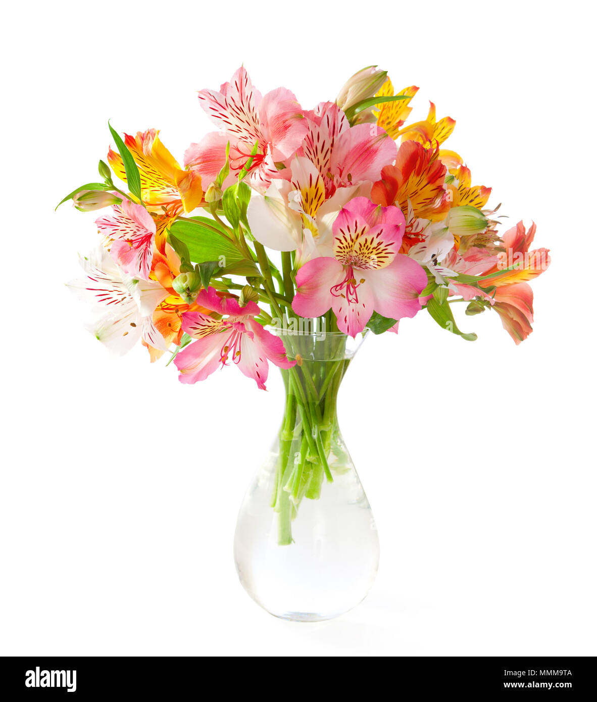 Ramo De Alstroemeria Coloridas Flores En Un Jarron De Cristal