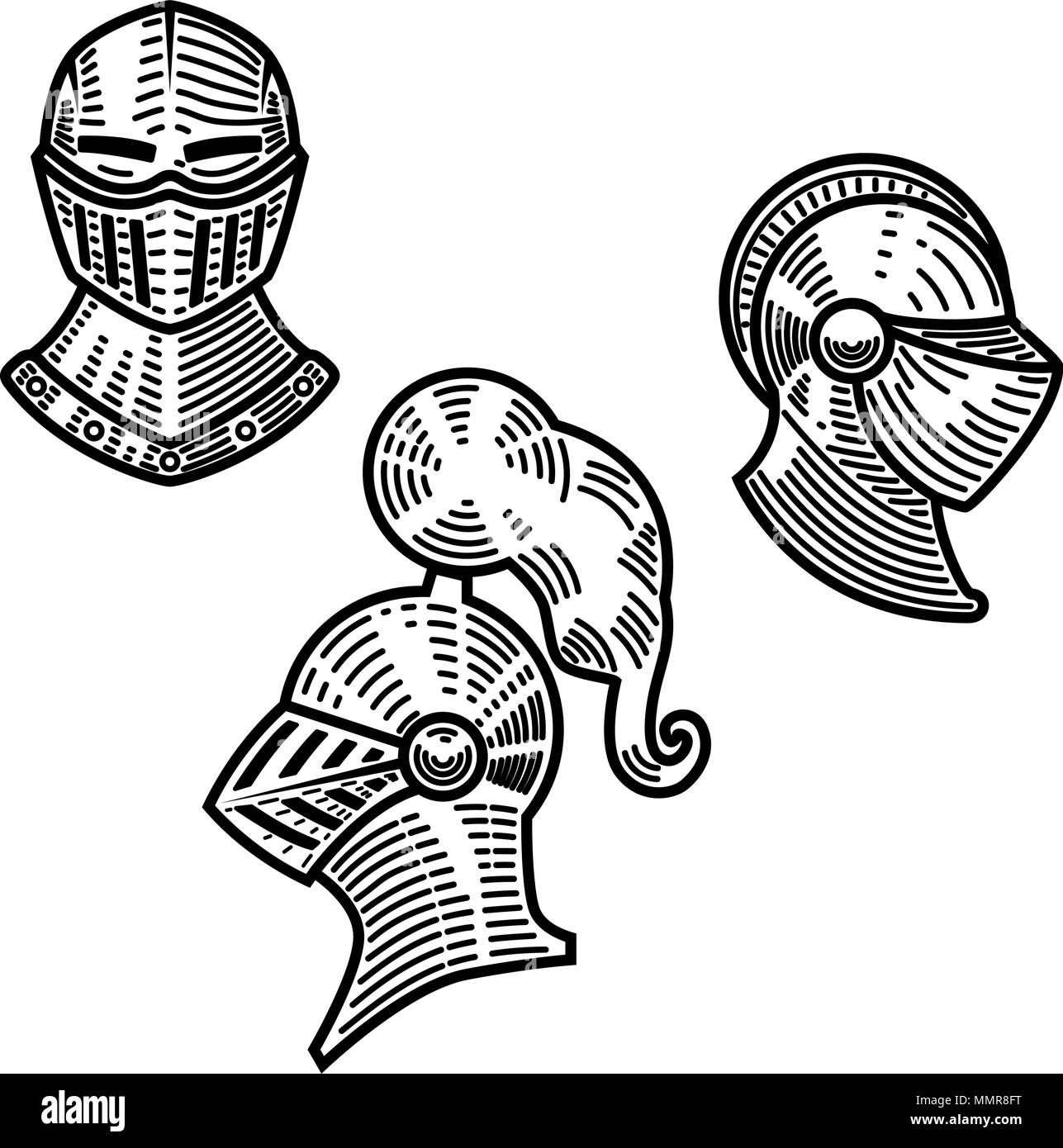 d3181b9867fb9 Conjunto de cascos knight en estilo de grabado. Elemento de diseño para el  logotipo