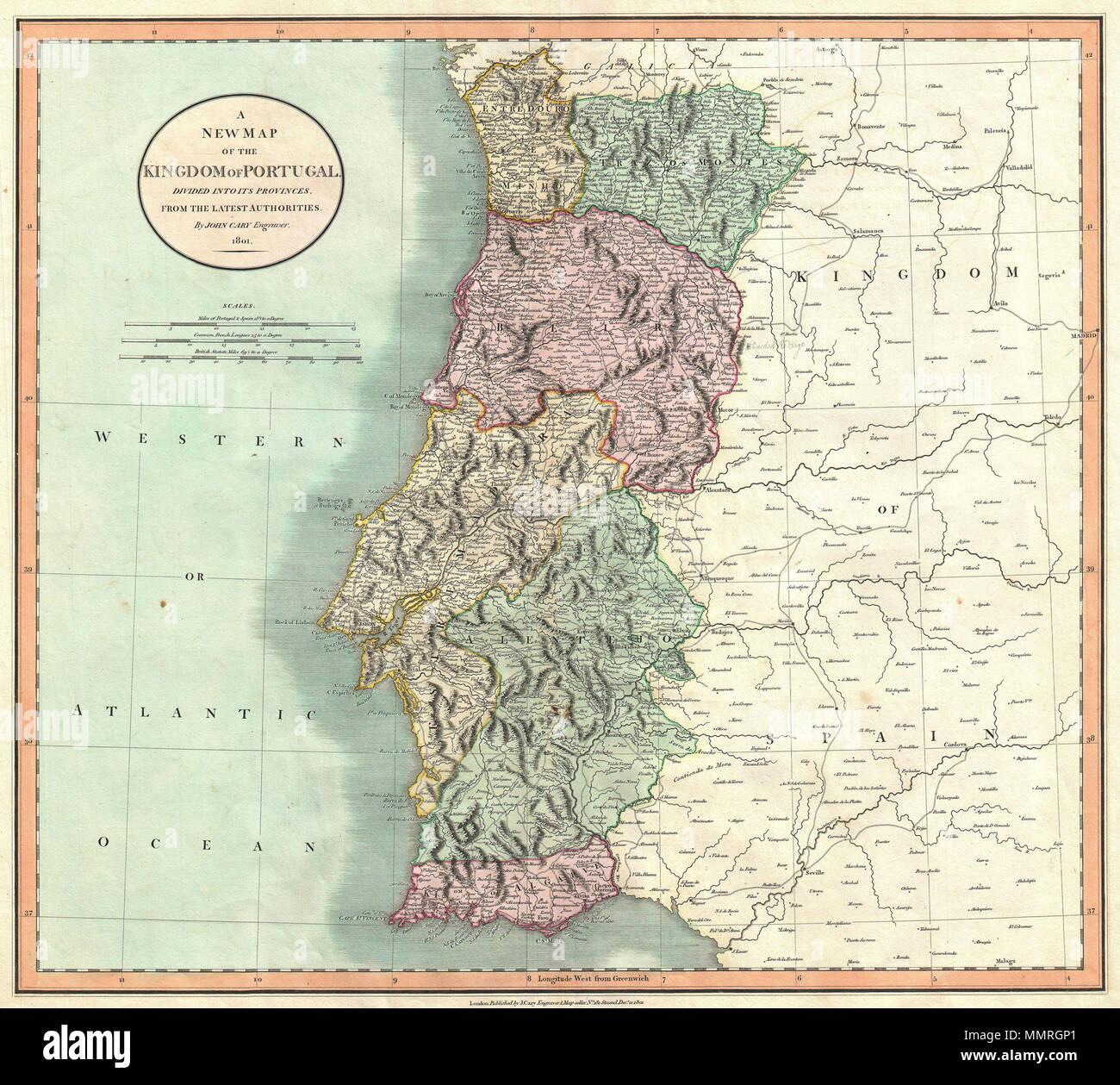 mapa de portugal dividido por provincias Inglés: Un ejemplo muy atractivo de John Cary's 1801 Mapa de  mapa de portugal dividido por provincias