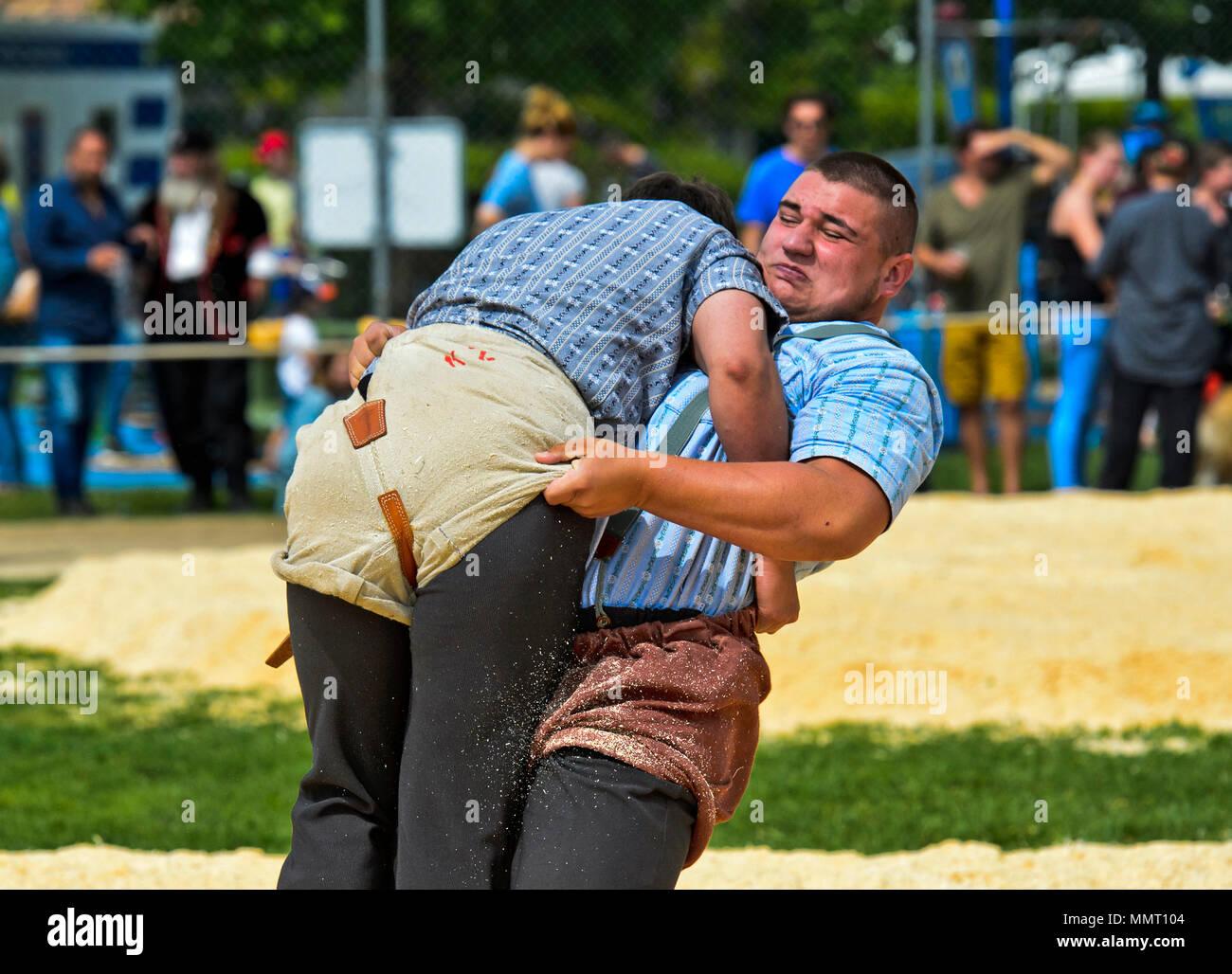 Anières, Ginebra, Suiza. 12 de mayo de 2015. Luchadores suizo combates en serrín anillo, 19 wrestling festival suizo del Cantón de Ginebra, Anières, Ginebra, Suiza. Crédito: GFC Colección/Alamy Live News Imagen De Stock
