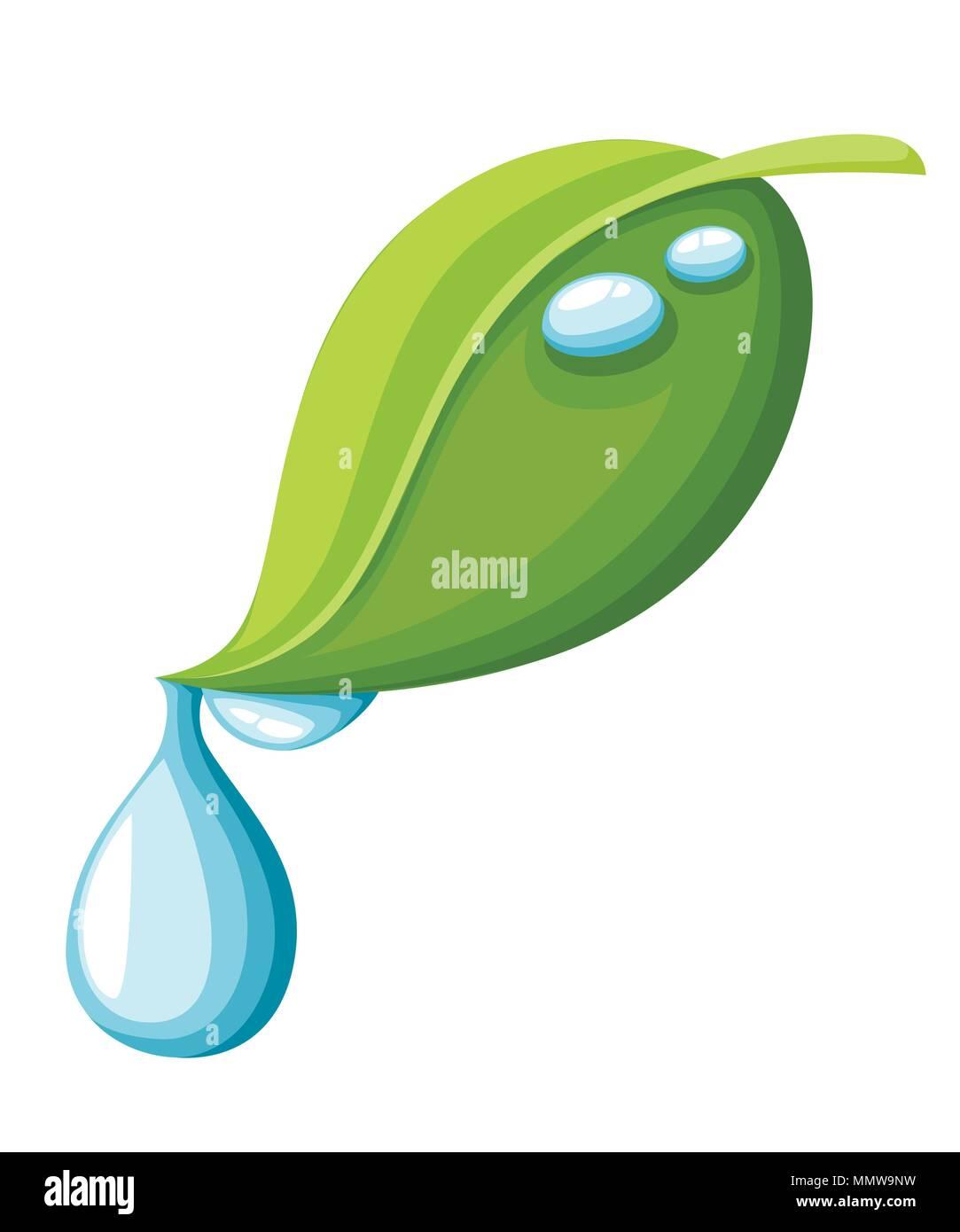 Verde Hoja Con Gota De Agua Piso Estilo De Dibujos Animados