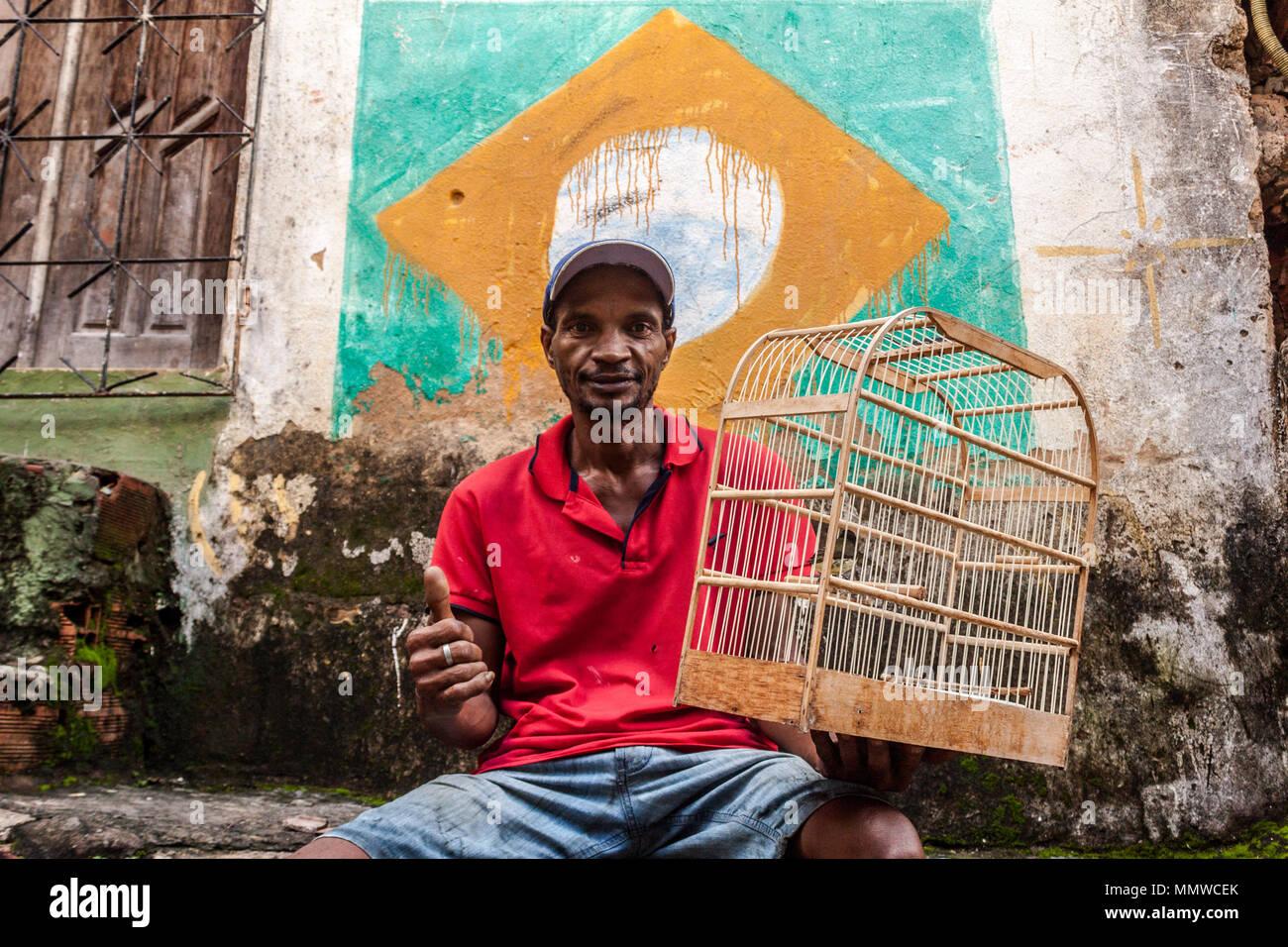 Homem sentado segura passarinho com a bandeira do Brasil atrás Imagen De Stock