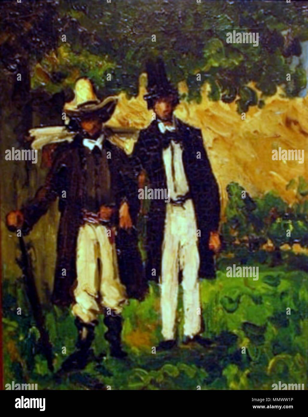 Cézanne - Marion y Valabrègue salen a buscar un motivo para pintar Imagen De Stock