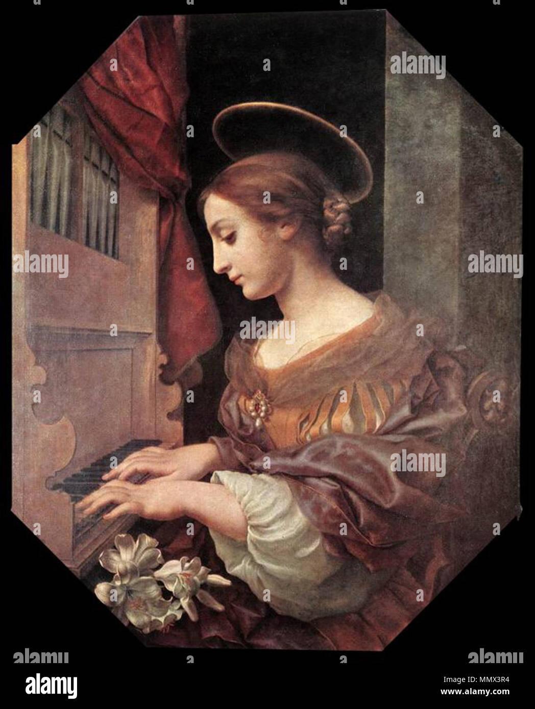 Italiano: Santa Cecilia all'organo Santa Cecilia en el órgano. 1671. Dolci Cecilia organo Imagen De Stock