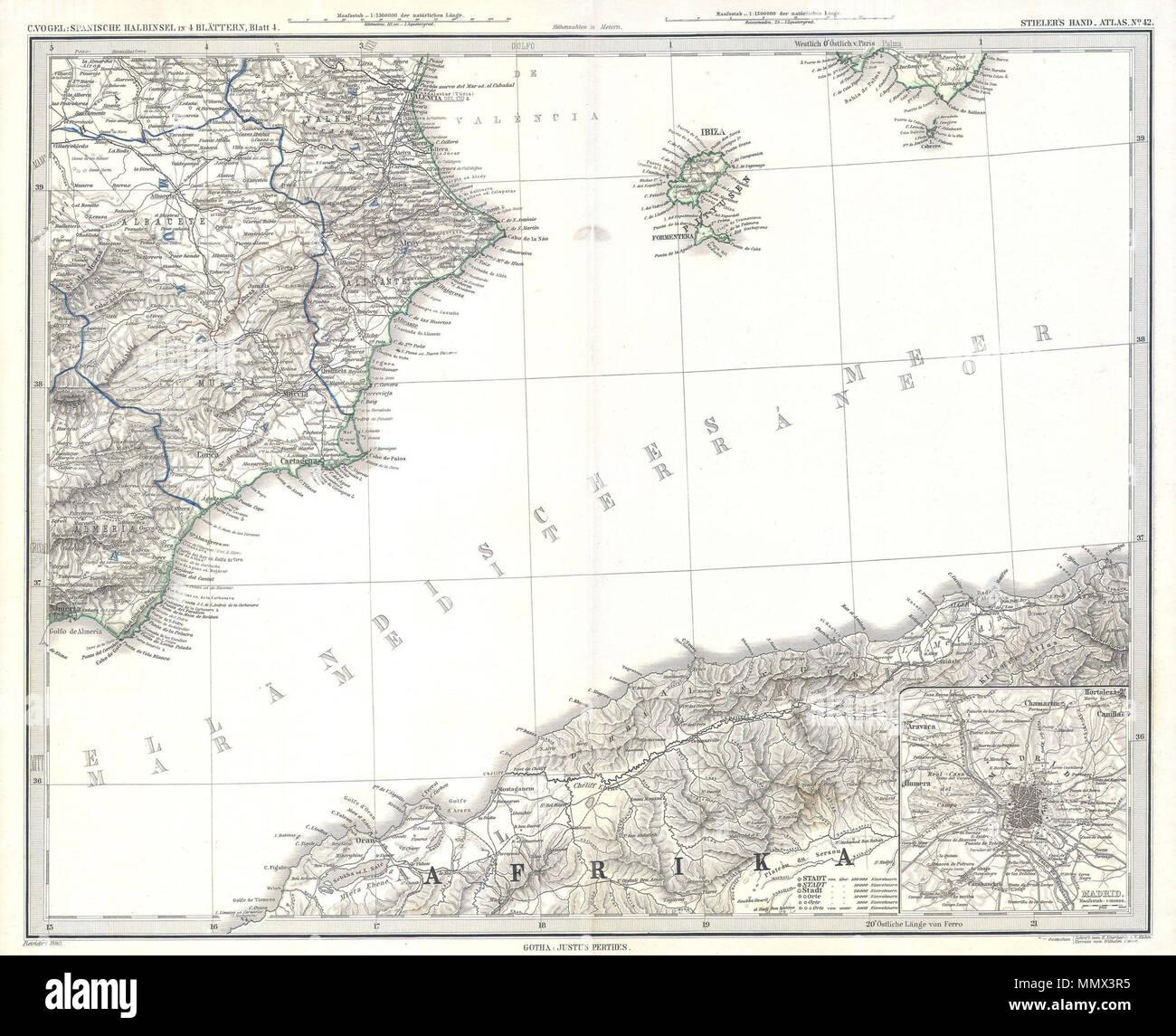 Mapa De España Costas.Ingles Este Fascinante Coloreado A Mano Mapa Muestra Las