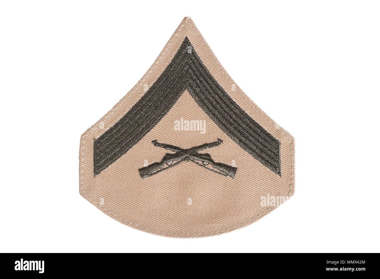 Los marines de rango parche aislado Foto de stock