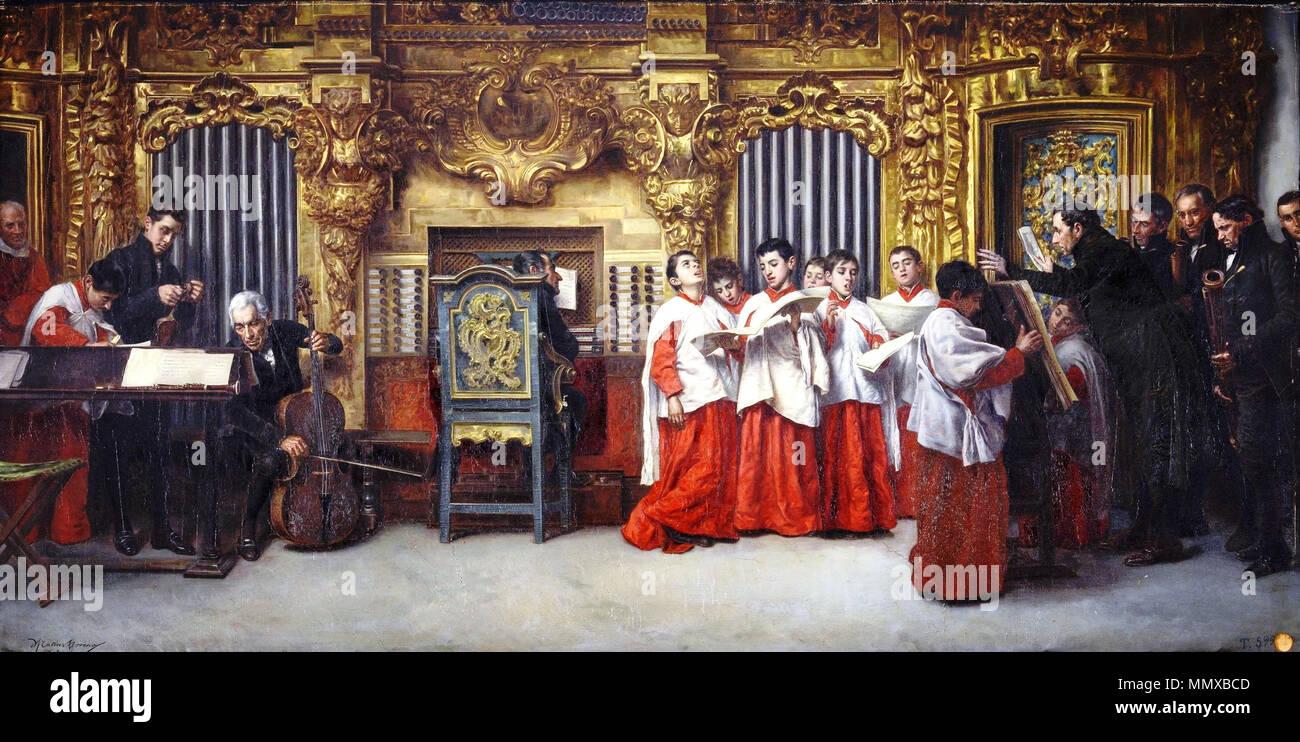 Ensayo al órgano, de Matías Moreno González (Museo del Prado) Imagen De Stock