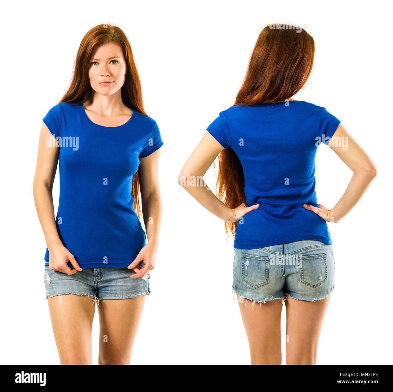 fd73ba4b4 Pretty Redhead Girl White Shirt Imágenes De Stock   Pretty Redhead ...