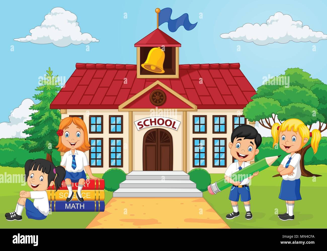 Grupo De Dibujos Animados De Niños De Escuela Primaria En