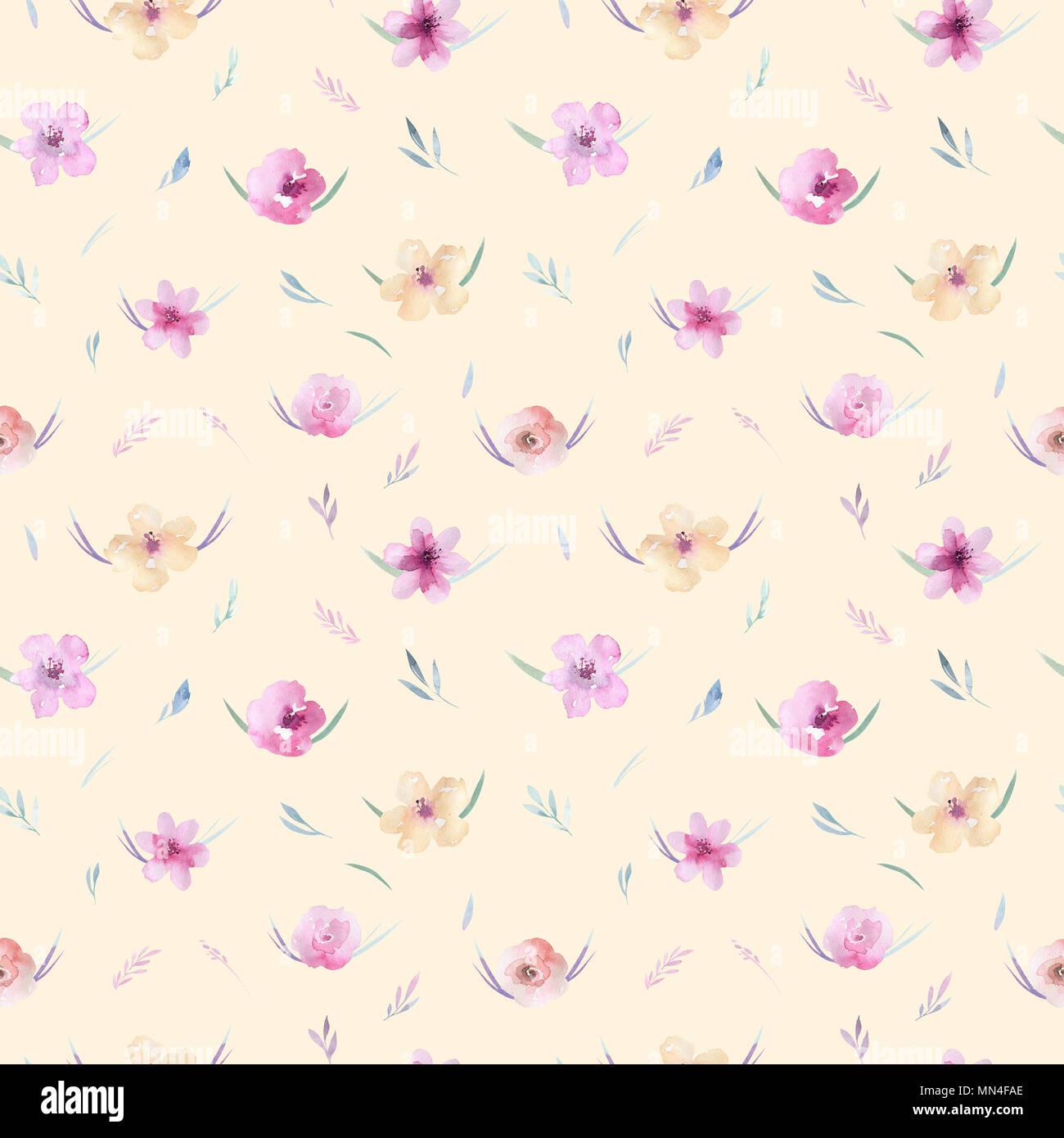 Acuarela Patrón Floral Patrón Sin Fisuras Con Púrpura Oro Y