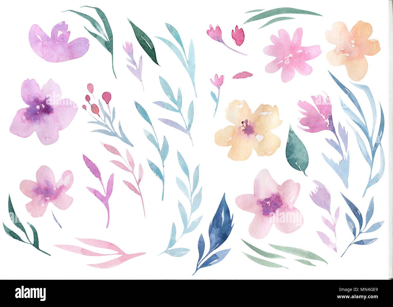 Watercolor Floral Boho Flower Wreath Imágenes De Stock