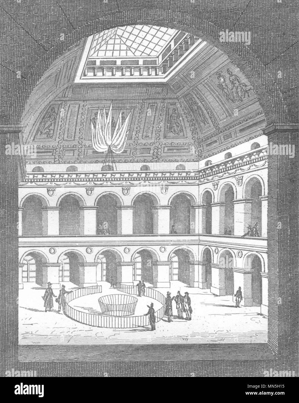 París. La Bolsa de París, Interieur 1835 antigüedades vintage imprimir imagen Foto de stock