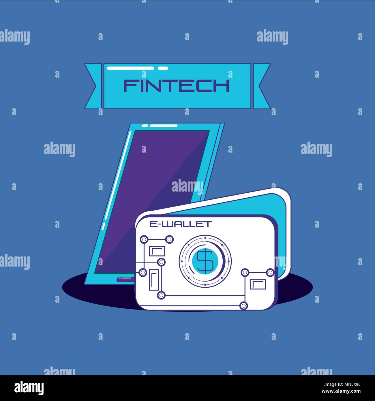 Fintech concepto con el smartphone y la billetera sobre fondo azul, ilustración vectorial Imagen De Stock