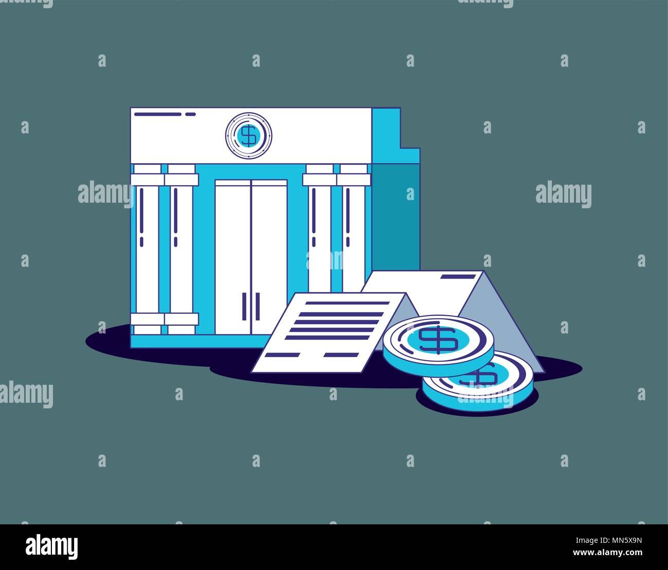 Concepto de tecnología financiera con edificio de banco y monedas sobre fondo gris, ilustración vectorial Imagen De Stock