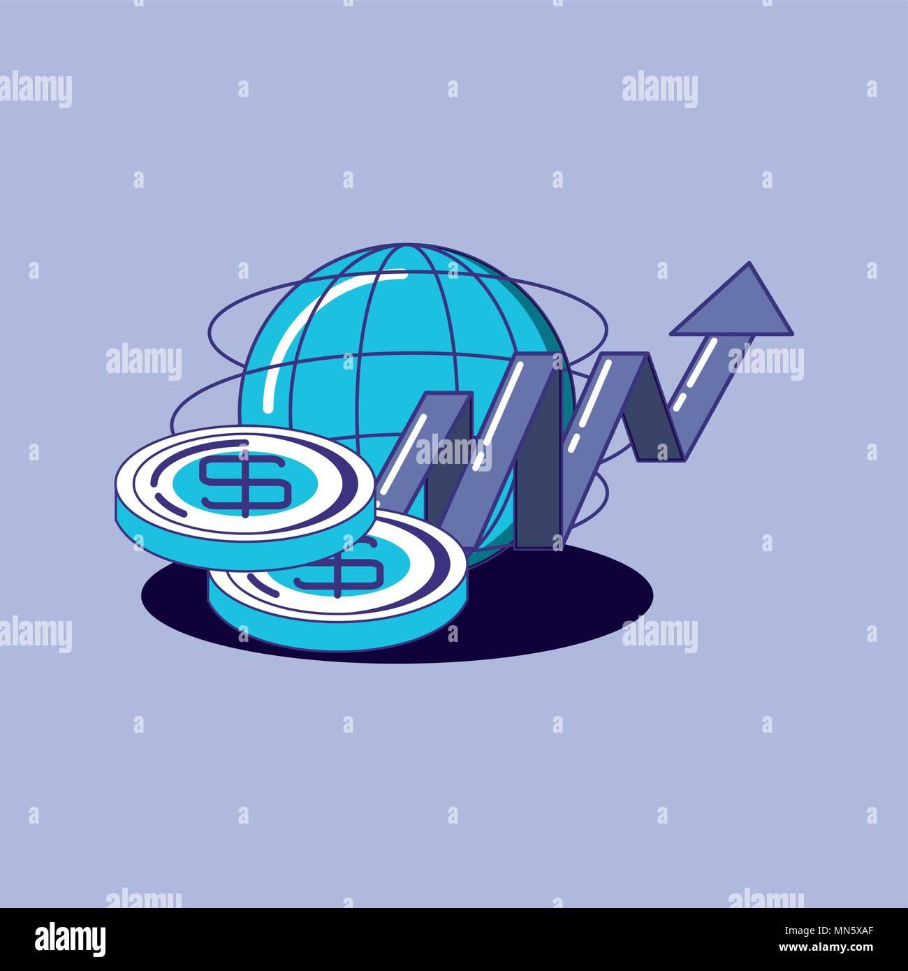 Diseño de tecnología financiera con ámbito global y dinero monedas sobre fondo púrpura, ilustración vectorial diseño colorista. Imagen De Stock