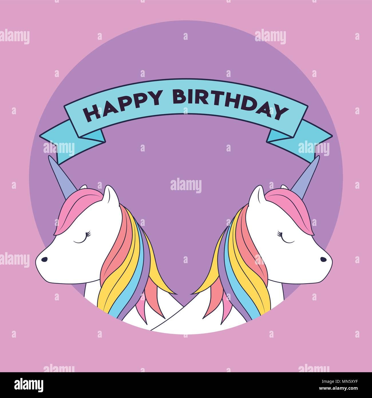 Feliz cumpleaños con diseño lindo unicornios icono y cinta decorativa sobre fondo púrpura, ilustración vectorial diseño colorista. Imagen De Stock