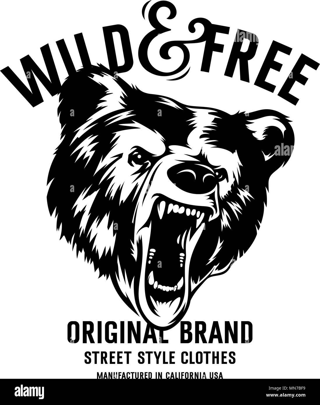 d64dae30838c Salvaje y libre tipografía vintage con una cabeza de un oso grizzly ...