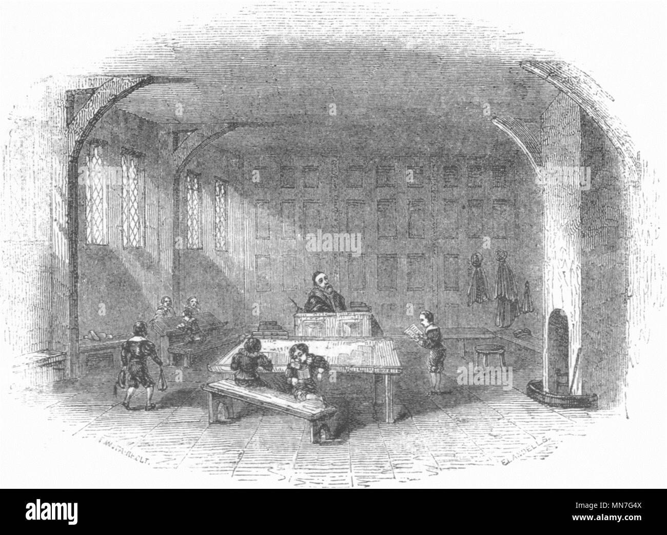 WARCS. Stratford Grammar School 1845 vintage antigua imagen de impresión Imagen De Stock