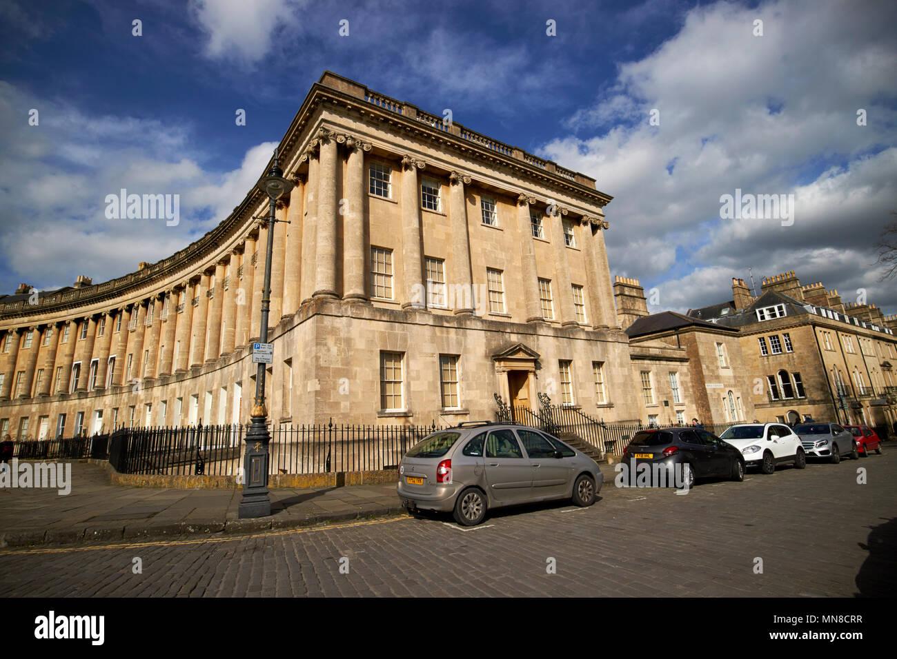 Número 1 de Royal Crescent baño Preservation Trust sede y museo camino residencial casas georgianas Bath Inglaterra Imagen De Stock