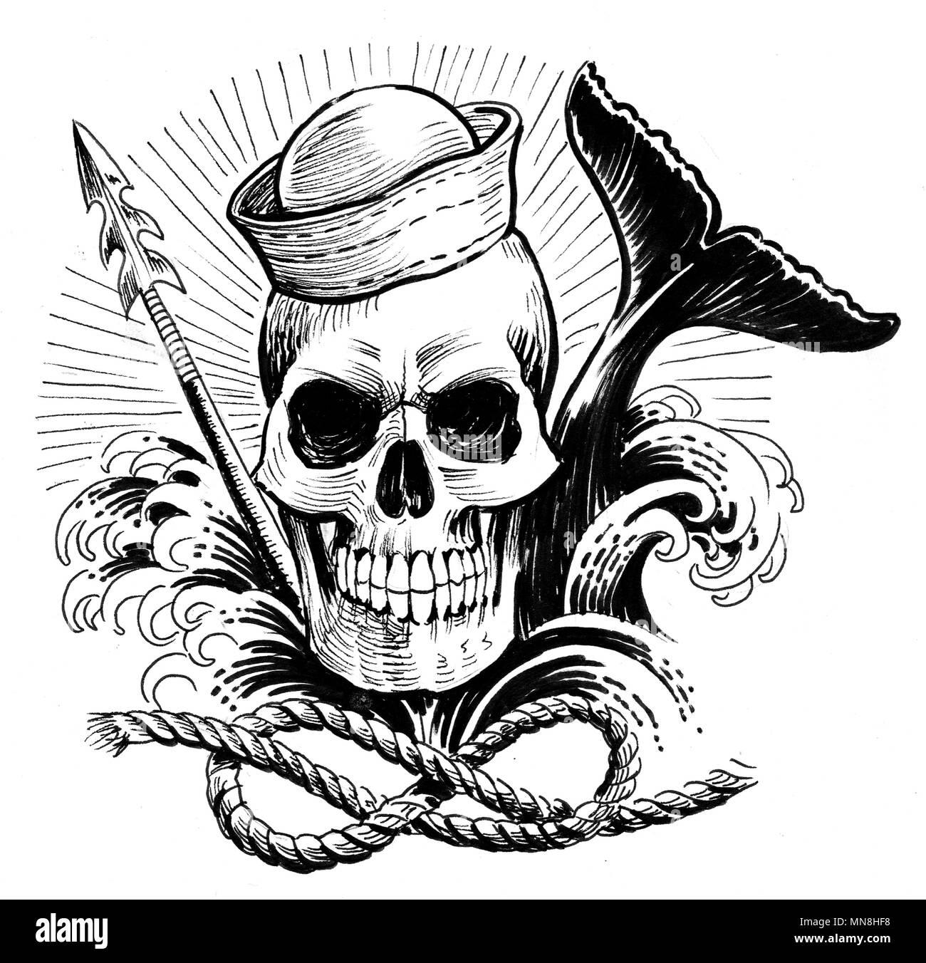 Marinero Muerto Y La Ballena Dibujo En Blanco Y Negro De Tinta Foto