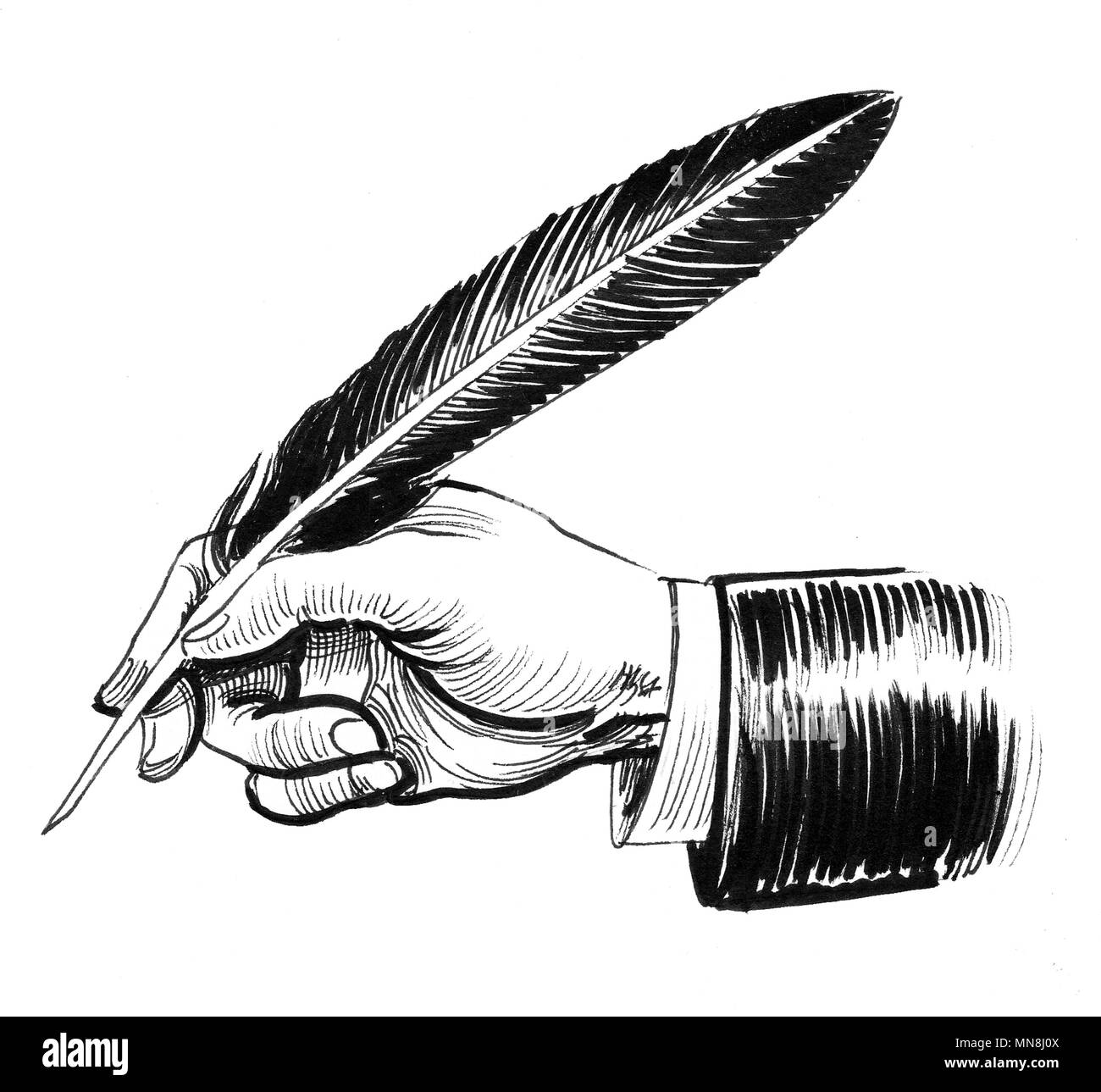 La Escritura A Mano Con Una Tapa Dibujo En Blanco Y Negro De Tinta