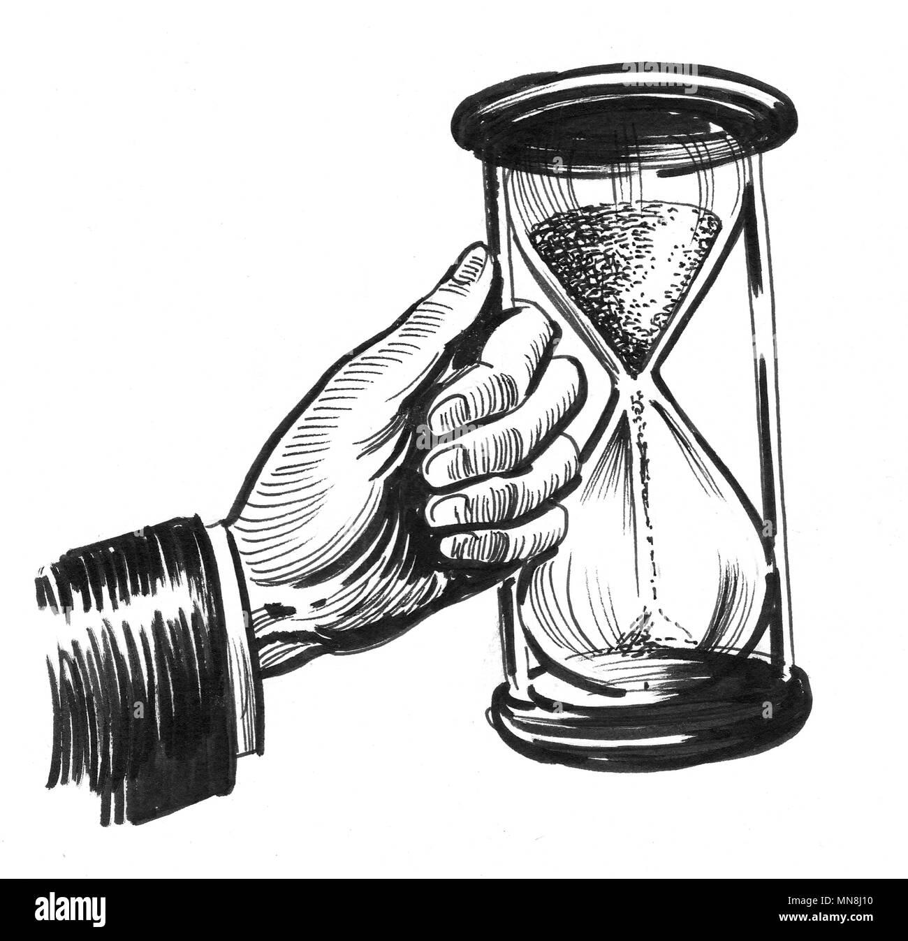 Mano Con Reloj De Arena Dibujo En Blanco Y Negro De Tinta Foto