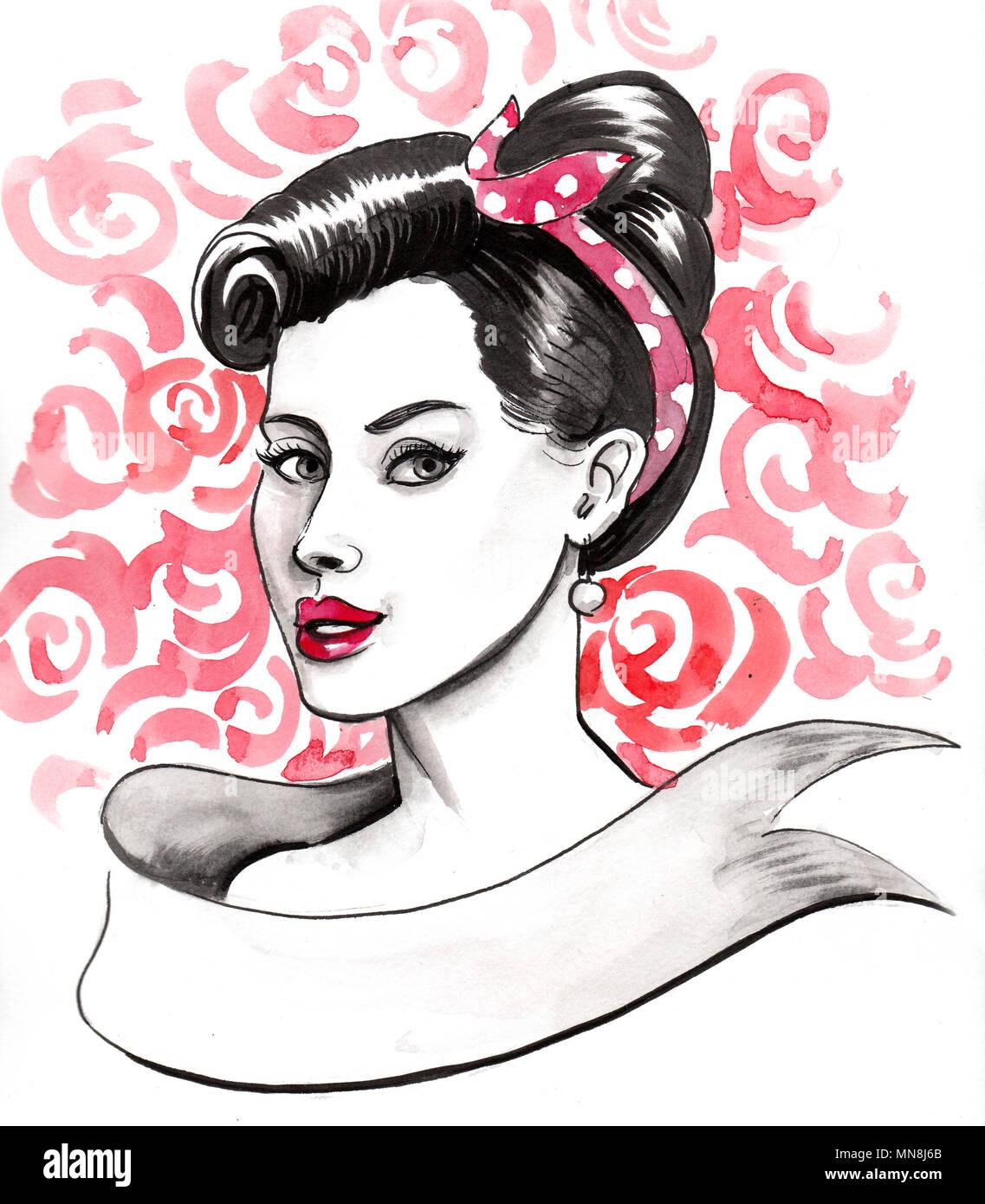 c00f5cba64e Bonita ilustración estilo pin-up de una bella mujer Foto & Imagen De ...