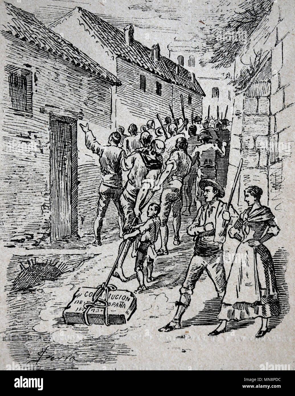 España. Kigdom de Fernando VII. Los realistas derribar la lápida de la Constitución. Foto de stock