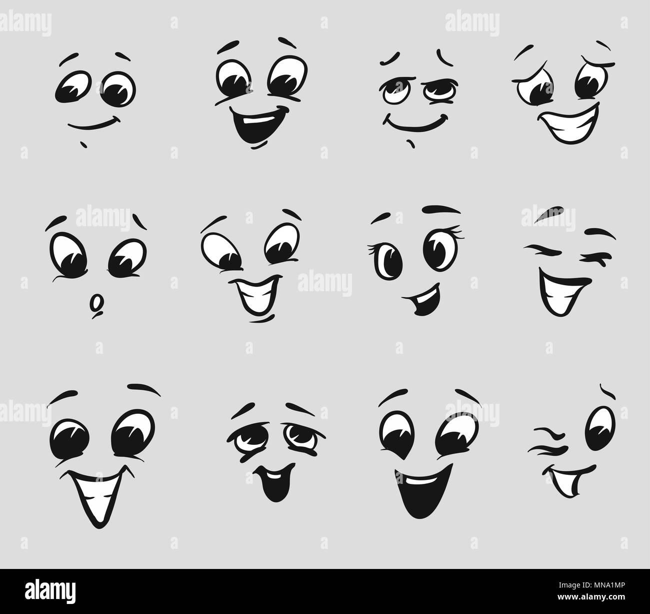 Twelf Felices Expresiones De Dibujos Animados Rostros