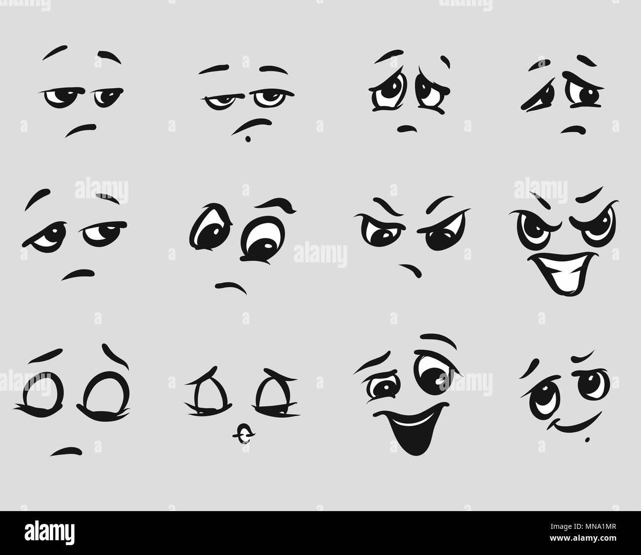 Twelf Enojado Expresiones De Dibujos Animados Rostros